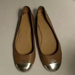 Coach Chelsea Ballet Flats Tan with Silver toe cap